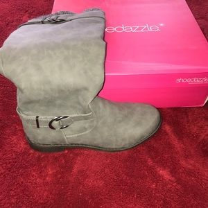 ShoeDazzle Grey Riding Boot